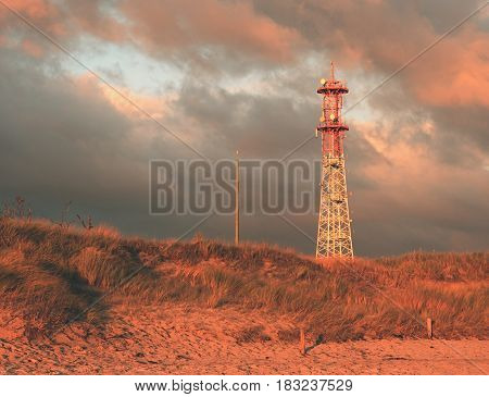 Meteorological Tower Station, Steel Construction At Offshore.