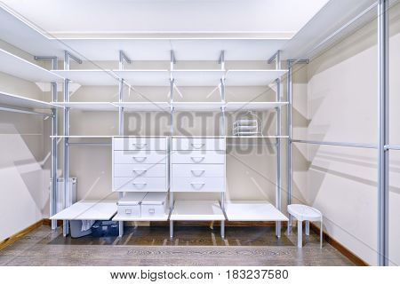 The interior design of the dressing room in a luxury house.