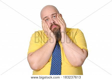 Funny Sad Middle-aged Man On A Pure White Background..