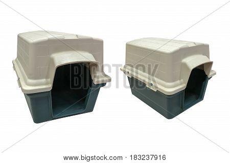 plastic dog house isolated on white background