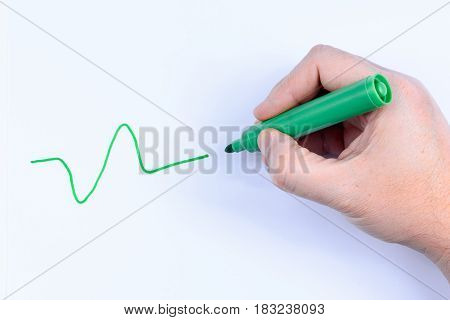 Hand holding a green pen having just drawn a wavey line isolated on white background