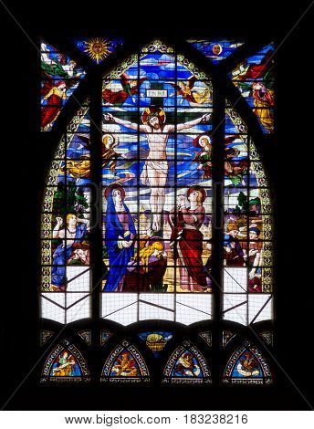 Paris, France, March 26, 2017: Stained Glass Window in Churche Saint Jean de Mormartre