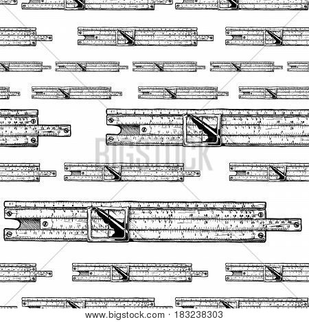 Seamless pattern with slide rules. Vector illustration in ink hand drawn style on white background.