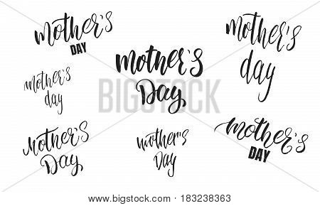 Mother's Day calligraphy set. Lettering design for Mothers Day Holiday