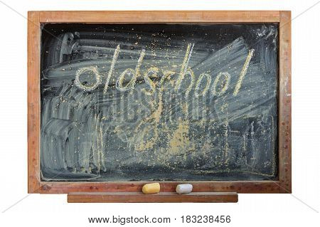 The inscription oldschool on the school blackboard chalk white and yellow.