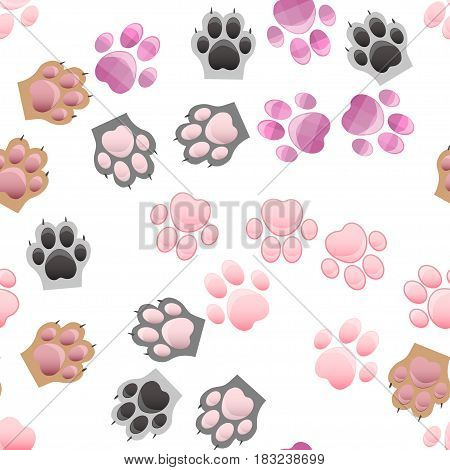 original trendy vector seamless pattern with cats and dogs paw print with claws