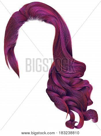 woman trendy long curly hairs wig bright pink colors .retro style . beauty fashion . realistic 3d .