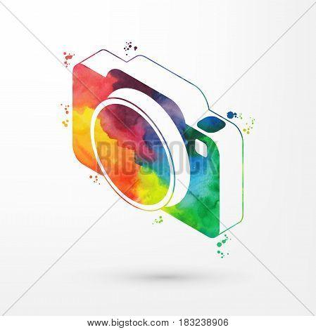 Vector illustration of isometric watercolor camera icon, rainbow paints.