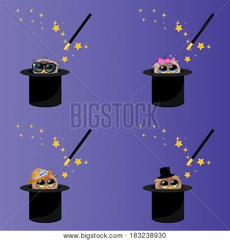 Very high quality original trendy vector set of magic hat with owl and wand with sparkles