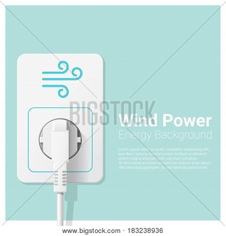Green energy concept background with wind power and electric plug , vector , illustration