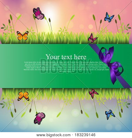 Very high quality original trendy banner with grass, chamomile, butterfly and realistic ribbon