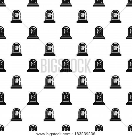 Gravestone with RIP text pattern seamless in simple style vector illustration