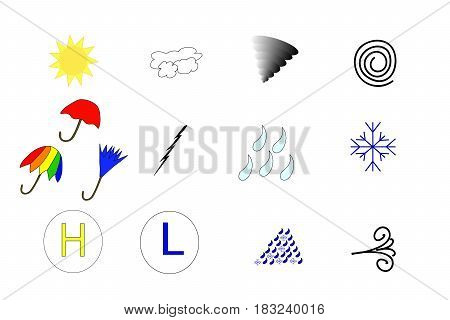 Set of colorful weather related icon vectors on white.