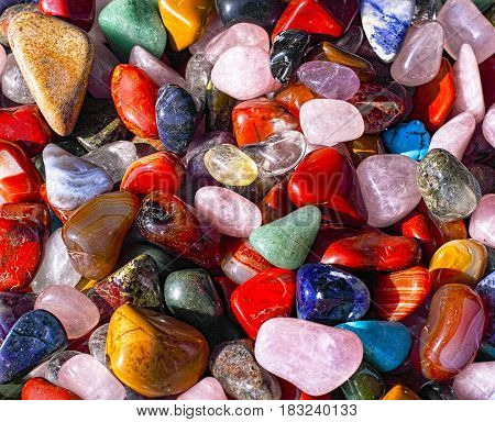 Image of natural stones in all colors - photographed in natural light at an outdoor Market in Prague Europe.