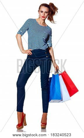 Fashion-monger With Shopping Bags Standing On White Background