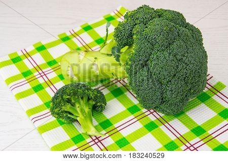 Head of fresh cabbage broccoli. Studio Photo
