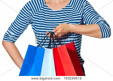 Closeup On Fashion-monger With Shopping Bags On White Background