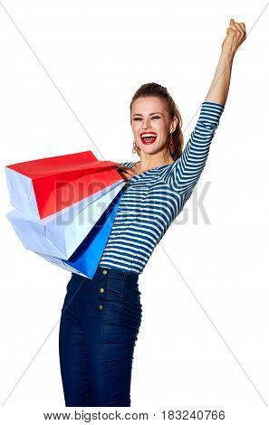 Fashion-monger With Shopping Bags On White Background Rejoicing
