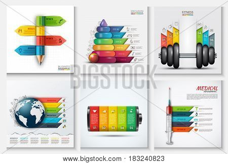Education, children, sport, medicine and global infographics templates. Vector illustration. Can be used for workflow layout, diagram, business step options, banner, web design.
