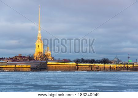 The Peter and Paul fortress on sunset Saint Petersburg Russia