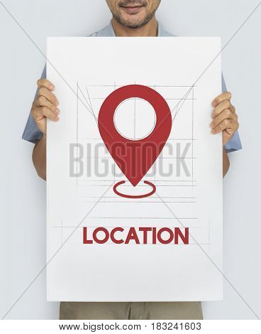GPS navigation icon graphic with people studio shoot
