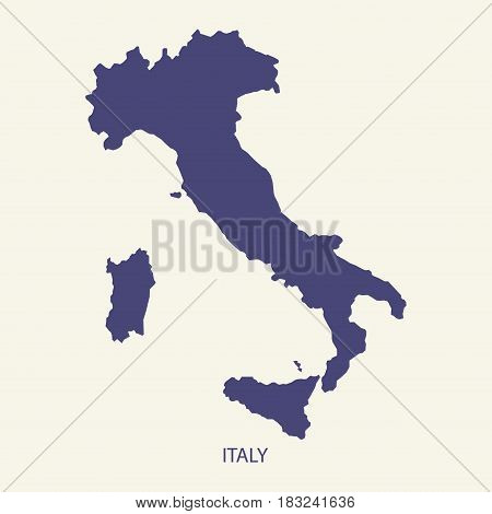 ITALY MAP, MAP OF ITALY FLAT SIMPLE ILLUSTRATION VECTOR