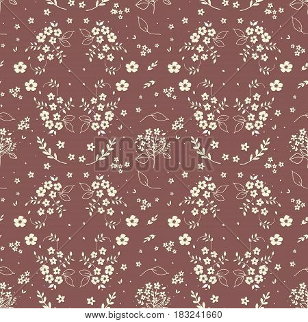Seamless floral pattern hand drawn small white silhouette flowers in bouquet twigs berries on dark red background fabric scrapbooking wallpaper tapestry design
