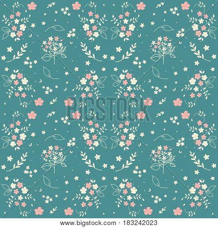 Seamless floral pattern hand drawn small white silhouette flowers in bouquet twigs berries on blueish green background fabric scrapbooking wallpaper design