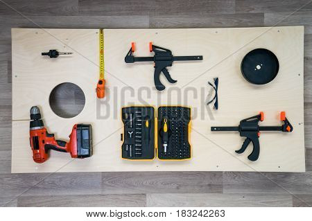 DIY Cornhole Board Flat Lay Woodworking Project with Tools