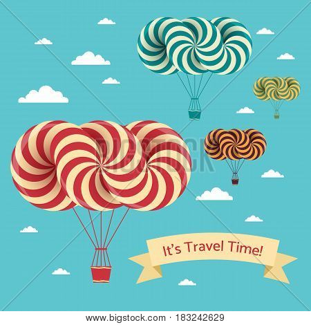 Travel time illustration. Vector postcard with airship and clouds on blue sky