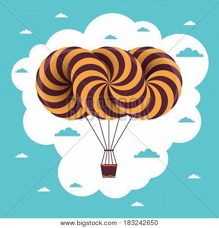 Travel time illustration. Vector postcard with airship and clouds on blue and white sky
