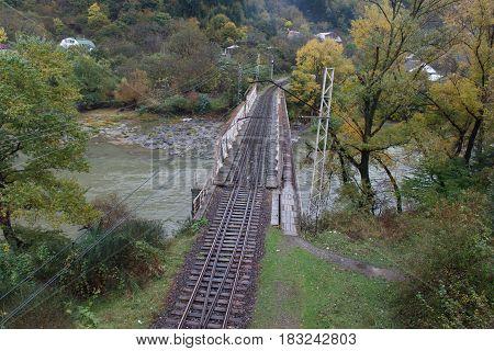 The massive railway bridge across the river Mtkvari Georgia