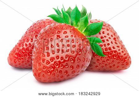 Three perfectly retouched whole strawberries with leaves isolated on white background with clipping path