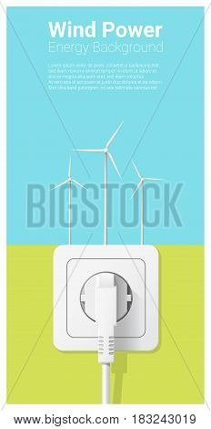 Green energy concept background with wind turbine and electric plug , vector , illustration