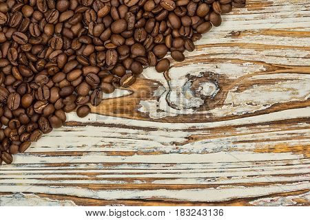 Vintage Coffee Photo Background. Coffee Beans On The Reclaimed Wood Table.