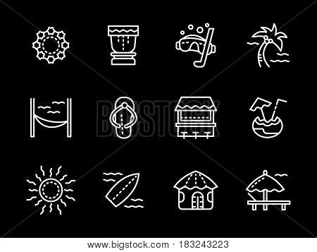 Symbols and elements of Hawaiian resort. Vacations and leisure on seashore with tropical cocktails, sun, surfing. Collection of simple white line design vector icons on black.