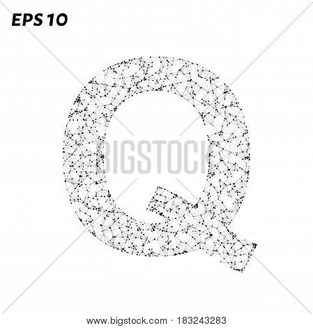 The Letter Q Consists Of Points, Lines And Triangles. Vector Illustration.