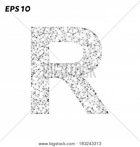 The Letter R Consists Of Points, Lines And Triangles. Vector Illustration.