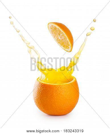 Splash of orange juice in orange isolated on white background