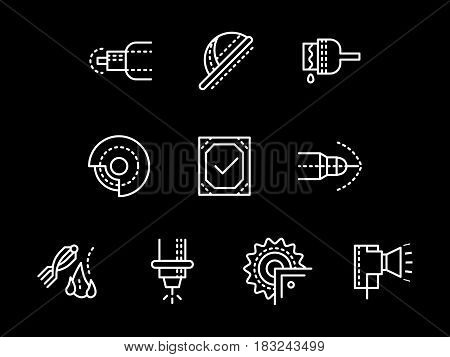 Metalworking factory equipment and elements. Metal processing tools. Collection of simple white line design vector icons on black.