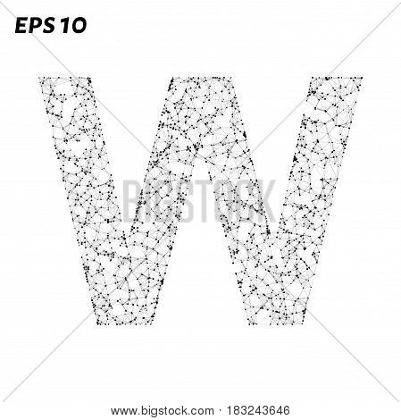 The Letter W Consists Of Points, Lines And Triangles. Vector Illustration.