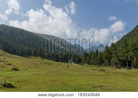 Majestic mountain top overgrown with coniferous forest, valley and glade, Maliovitza, Rila mountain, Bulgaria