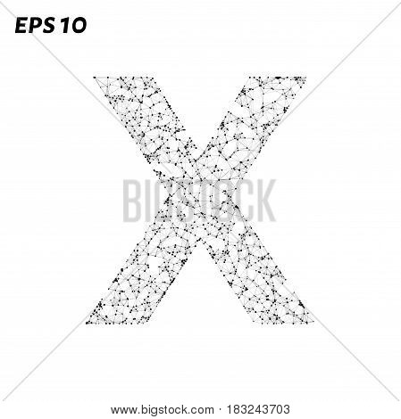 The Letter X Consists Of Points, Lines And Triangles. Vector Illustration.