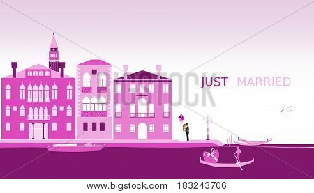 Just married - wedding. Bridal couple in Venice with balloons. Gondola and venetian landscape. Pink shade.