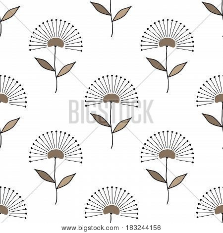 Seamless floral pattern graphic geometrical abstract flowers hand drawn on white background