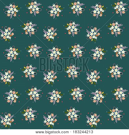 Seamless floral pattern composition small field flowers twigs berries leaves on green blueish background fabric tapestry wallpaper design