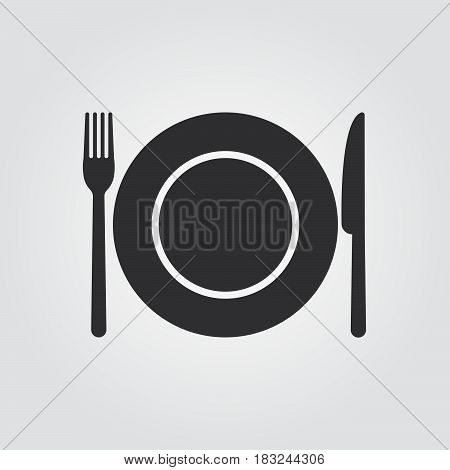 Dish fork and knife - vector icon isolated on white background .