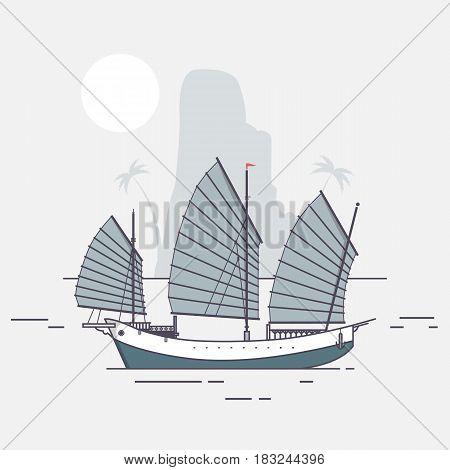 Junk boat sailing arriving to tropical island Flat vector illustration