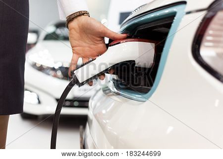 Charging battery of an electric vehicle. Electric car.