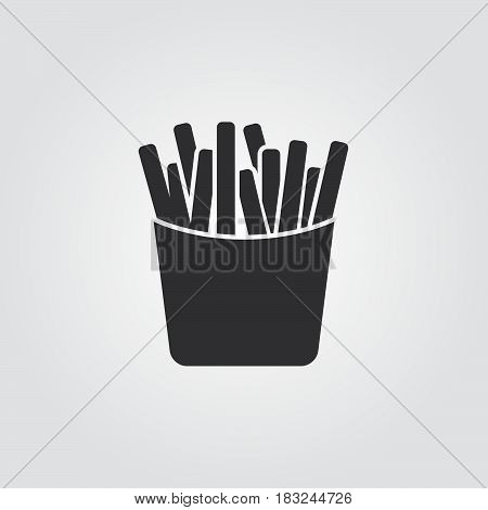 french fries icon isolated on white background .